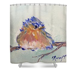 Fluffy Bluebird Chick Shower Curtain