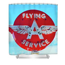 Flying A Service Sign Shower Curtain by Joan Reese