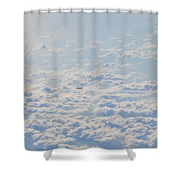 Shower Curtain featuring the photograph Flying Among The Clouds by Bill Cannon