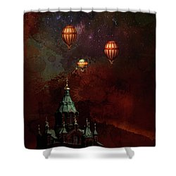 Shower Curtain featuring the digital art Flying Balloons Over Stockholm by Jeff Burgess