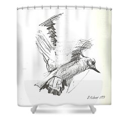 Flying Bird Sketch Shower Curtain