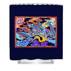 Shower Curtain featuring the painting Flying Crane by Lori Miller