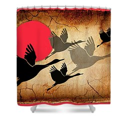 Flying Cranes Shower Curtain