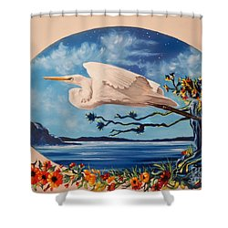 Flying Egret Shower Curtain by Sigrid Tune