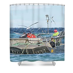 Shower Curtain featuring the photograph Flying Fish by Randy Hall