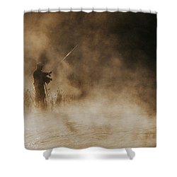 Shower Curtain featuring the photograph Flying Fishing by Iris Greenwell