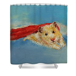 Hamster Superhero Shower Curtain by Michael Creese