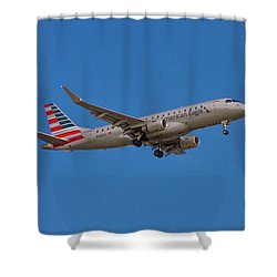 Flying In American Eagle Embraer 175 N426yx Shower Curtain