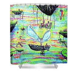 Shower Curtain featuring the painting Flying Islands by Viktor Lazarev