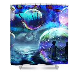 Flying Jellyfish And Magic Orbs Shower Curtain