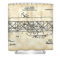 Flying Machine Patent 1903 - Vintage Shower Curtain