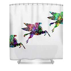 Flying Pegasus Rainbow Shower Curtain