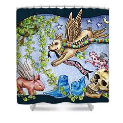 Shower Curtain featuring the painting Flying Pig Party 2 by Retta Stephenson