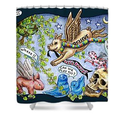 Shower Curtain featuring the drawing Flying Pig Party by Retta Stephenson