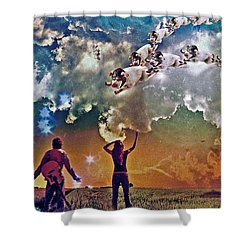 Flying Pigs Shower Curtain