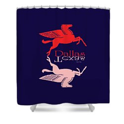 Flying Red Horse Dallas Texas Reflection T-shirt Shower Curtain