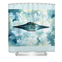 Flying Saucer Shower Curtain by Michael Vigliotti