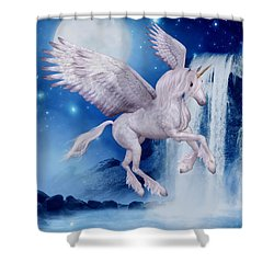Flying Unicorn Shower Curtain by Smilin Eyes  Treasures