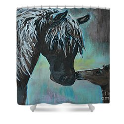 Shower Curtain featuring the painting Foal Kiss by Leslie Allen