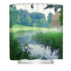 Fog Along A Creek In Autumn Shower Curtain