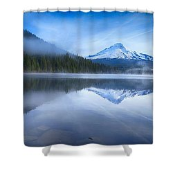 Fog And The Lake Shower Curtain by Lynn Hopwood