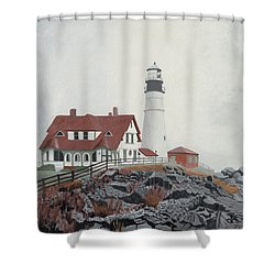 Fog Approaching Portland Head Light Shower Curtain by Dominic White