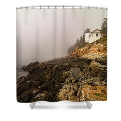 Shower Curtain featuring the photograph Fog At Bass Harbor Lighthouse by Jeff Folger