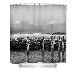 Fog Beyond The Breakwater Shower Curtain by Richard Bean