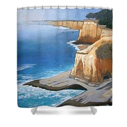 Shower Curtain featuring the painting Fog Burning Off by Gary Coleman