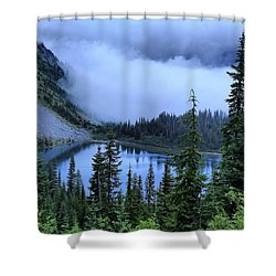 Fog Over Louise Lake Shower Curtain