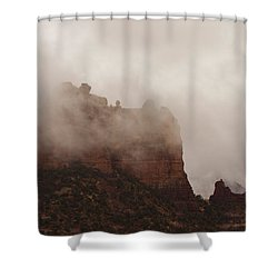 Shower Curtain featuring the photograph Fog Over Snoopy Rock by Tom Kelly