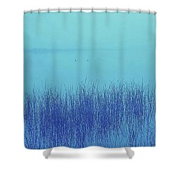 Fog Reeds Shower Curtain by Laurie Stewart