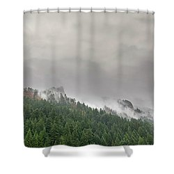 Fog Rolling Over Columbia River Gorge Shower Curtain
