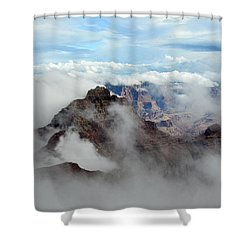 Fog Shrouded Vishnu Temple  Shower Curtain
