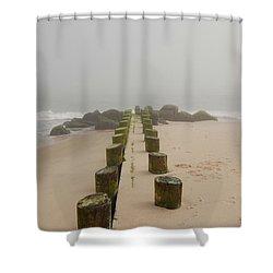 Fog Sits On Bay Head Beach - Jersey Shore Shower Curtain