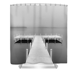 Foggy August Lake B/w Shower Curtain by Greg Jackson