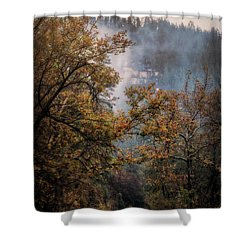 Shower Curtain featuring the photograph Foggy Autumn Road  by Saija Lehtonen