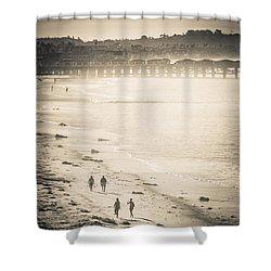 Shower Curtain featuring the photograph Foggy Beach Walk by T Brian Jones