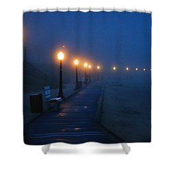 Foggy Boardwalk Blues Shower Curtain by Bill Pevlor