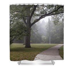 Foggy Campus  Shower Curtain by John McGraw