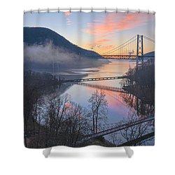 Foggy Dawn At Three Bridges Shower Curtain
