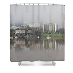 Foggy Day Along Portland Waterfront Panorama Shower Curtain