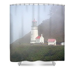 Shower Curtain featuring the photograph Foggy Day At The Heceta Head Lighthouse by AJ Schibig
