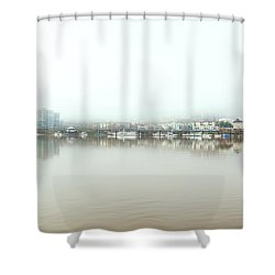 Foggy Day On Portland Downtown Waterfront Shower Curtain