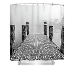 Shower Curtain featuring the photograph Foggy Dock In Alabama  by John McGraw
