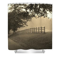 Foggy Fence Line Shower Curtain