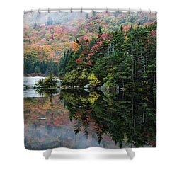 Shower Curtain featuring the photograph Foggy Foliage Morning Kinsman Notch by Jeff Folger