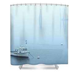 Foggy Harbor Shower Curtain by Diane Diederich
