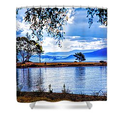 Foggy Hills And Lakes Shower Curtain
