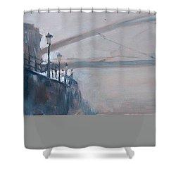 Foggy Hoeg Shower Curtain by Nop Briex